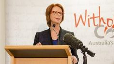 Former Prime Minister Julia Gillard at the opening of the 'Without Consent' exhibition at the National Archives of Australia, Canberra, in March 2015. http://www.naa.gov.au/visit-us/exhibitions/ The exhibition recognises the victims of Australia's forced adoption practices. It's heartbreaking.