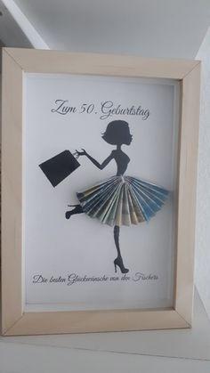 diy birthday gifts for her Rahmen: Geldgeschenk Diy Birthday, Birthday Cards, Birthday Gifts, Craft Gifts, Diy Gifts, Don D'argent, Creative Money Gifts, Gift Money, Frame Crafts