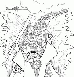 """Day 1 Bible Point: God is with us, so. Bible Story: The Israelites cross the Red Sea. (Exodus Key Verse: """"God answered, 'I will be with you.Moses Leads People Across The Red Sea. Sunday School Activities, Bible Activities, Sunday School Crafts, Bible Coloring Pages, Printable Coloring Pages, Coloring Books, Coloring Sheets, Kids Coloring, Free Coloring"""