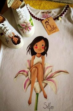 Una preciosidad Diy Bag Painting, T Shirt Painting, Baby Painting, Fabric Painting, Hand Painted Shoes, Painted Clothes, Drawing Bag, Mother Art, Cute Kids Fashion