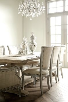 beautiful dining room, linen chairs, light grey walls. and oooohhhhh the floor
