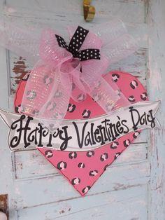Valentine's Day Door Hanger Valentines Door by BluePickleDesigns, $45.00