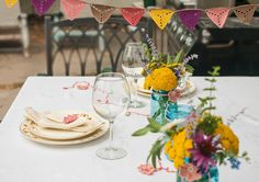 Crochet bunting and table decor
