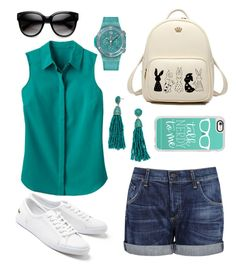 """""""My First Polyvore Outfit"""" by jarockaja-jana on Polyvore featuring Citizens of Humanity, Lacoste, Casetify, Hublot, TravelSmith and BaubleBar"""