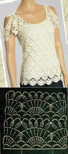 Watch This Video Beauteous Finished Make Crochet Look Like Knitting (the Waistcoat Stitch) Ideas. Amazing Make Crochet Look Like Knitting (the Waistcoat Stitch) Ideas. Blouse Au Crochet, Black Crochet Dress, Crochet Shirt, Crochet Lace, Lace Dress, Clothing Patterns, Dress Patterns, Crochet Summer Tops, Crochet Tops