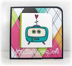 This card by Leigh Ann Baird is stunning. Love the bold pattern but how it doesn't overpower the main image. Love!