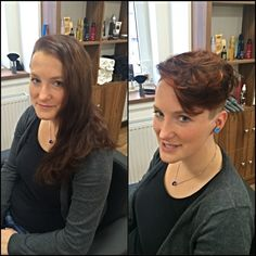 Proměna - z dlouhých vlasů do šmrncovních krátkých. / Hair change - from long hair to short hair cut. Before and after.