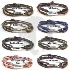 8 new Camo Fish Hook Bracelets.  https://www.etsy.com/listing/276472610/8-camo-adjustable-double-wrap-slide-knot #papabearshouse #paracord #paracordbracelet #fish #fishhook #hook #fishhookbracelet #hookbracelet #digital #multicam #multicamo #tricolor #camo #orange #tactical #survival #fall #etsy #etsyshop #etsyseller #etsyjewelry #follow #followme #handmade #madetoorder #custommade