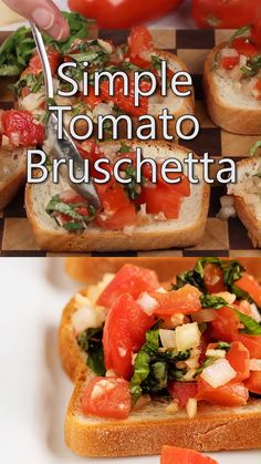 Appetizer Recipes Discover Easy Tomato Bruschetta Tomato Bruschetta with Garlic and Basil makes a quick appetizer or snack. This easy tomato bruschetta recipe is a healthy food option for families. Quick Appetizers, Appetizers For Party, Appetizer Recipes, Italian Food Appetizers, Tomato Appetizers, Easter Appetizers, Bread Appetizers, Seafood Appetizers, Tomato Bruschetta