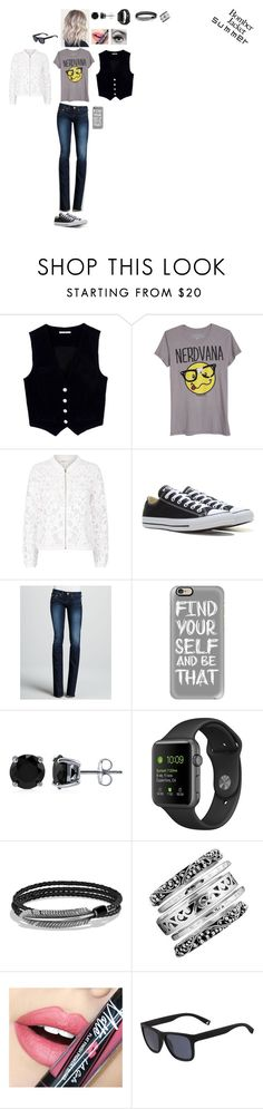 """Light Topping: Summer Bomber Jackets"" by leacousty55 ❤ liked on Polyvore featuring AG Adriano Goldschmied, Maje, Converse, True Religion, Casetify, BERRICLE, David Yurman, Lois Hill, Fiebiger and Lacoste"