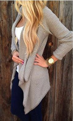 Irregular Open Front Long Sleeve Cardigan