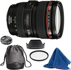 Canon EF 24-105mm f/4 L IS USM DBPREMIUM Lens Bundle + High Definition U.V. Filter + Deluxe Pouch for Canon Digital SLR Cameras