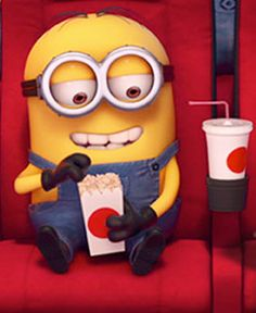minion at the movies (probally watching Despicable Me)