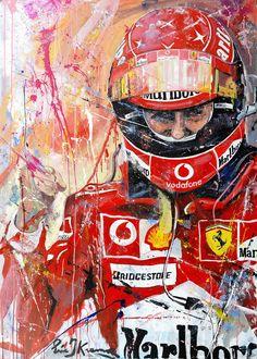 Michael Schumacher art painting by Formula 1 artist Eric Jan Kremer - Schumi - Sport Michael Schumacher Ferrari, Grand Prix, Ferrari F1, Ferrari Scuderia, Speed Art, Formula 1 Car, Retro Cars, Nascar, Art Cars