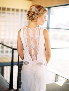 <3 back detail of the Claire Pettibone dress - Glam California Beach Wedding: Tara + Dustin by Braedon Photography - via greenweddingshoes