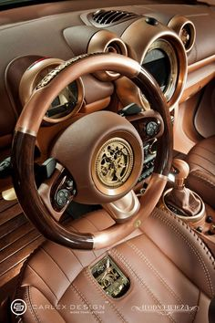 Steampunk Mini Countryman by Carlex Design: Carlex Design Steampunk Mini Countryman wallpaper interior steering wheel details