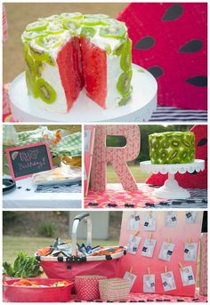 watermelon picnic party birthday for 1-yr-old   colormemeg.com #cake #partyideas