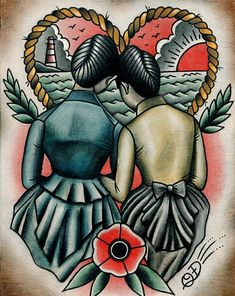 Image of Sunset Lovers Lesbian Tattoo Traditional Art Print by Quyen Dinh