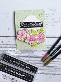 Blended Seasons 2 Artisan Blog Hop Season Colors, Flower Cards, Season 2, Colored Pencils, Hand Stamped, Stampin Up, Artisan, Paper Crafts, Invitations