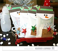 Neighbour gifts: Snowman Bingo Packages by Heather Leopard AC