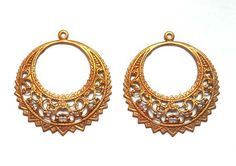 2 Antique Copper Filigree Earring Hoop Components by TreeChild1