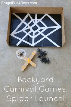 Backyard Carnival Games - perfect for a family fun night!  Spider Launch - catapult spiders into the web
