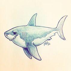 yoquepinto.blogsp... #sketch #illustration #shark Cartoon Sketches, Animal Sketches, Animal Drawings, Cute Drawings, Cartoon Kunst, Cartoon Art, Griffonnages Kawaii, Shark Art, Drawn Art
