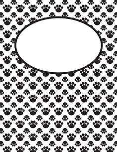 Free printable black and white paw print binder cover template. Download the cover in JPG or PDF format at http://bindercovers.net/download/black-and-white-paw-print-binder-cover/