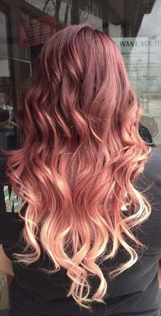 Red To Blonde Ombre Hair. Some awesome examples for Ombré hair combinations Dark Blonde Ombre Hair, Ombre Brown, Copper Ombre, Brown Blonde, Light Blonde, Gold Blonde, Dark Brown, Reddish Brown, Red Hair With Blonde Tips