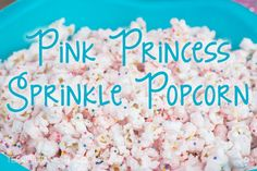 How to make a fun and easy party popcorn with a twist. Pink Princess Sprinkle popcorn is easy to make a big hit with kids at my daughter's barbie princess party