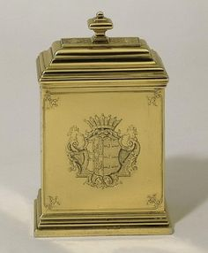 Tea Caddy, unmarked, by Paul de Lamerie, 1730. The coat of arms is that of Antonio Lopez Suasso impaling Da Costa, which also appears on a silver-gilt spoon tray by the renowned goldsmith Paul de Lamerie, suggesting that the two canisters formed part of a much larger tea service. The engraving is of the highest quality, and is attributed to the celebrated painter and engraver William Hogarth (1697-1764), based on a design by his master, Ellis Gamble.