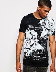 Image 1 ofBlack Kaviar Longline T-Shirt With Rose Print