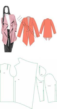 Motif manteau d& veste Fashion Sewing, Diy Fashion, Ideias Fashion, Diy Clothing, Sewing Clothes, Dress Sewing Patterns, Clothing Patterns, Sewing Hacks, Sewing Tutorials
