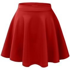 MBJ Womens Basic Versatile Stretchy Flared Skater Skirt ($8.50) ❤ liked on Polyvore featuring skirts, bottoms, saias, faldas, flared skirt, circle skirt, stretchy skirts, red circle skirt and red stretch skirt