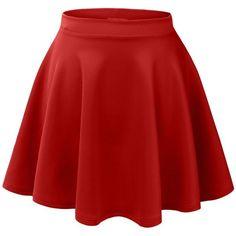 MBJ Womens Basic Versatile Stretchy Flared Skater Skirt ($8.50) ❤ liked on Polyvore featuring skirts, bottoms, saias, faldas, flared skirt, circle skirt, stretchy skirts, red circle skirt and red stretch skirt
