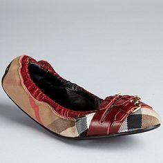 Burberry - Red Claret Bridle Ballerina Flats (20% off)