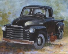 . Classic Trucks, Classic Cars, Old Pickup Trucks, Dodge Trucks, Vintage Red Truck, Truck Paint, Drawn Art, Old Barns, Painting & Drawing