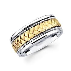 Solid 14k Yellow and White Two 2 Tone Gold Mens Braided Rope Design Wedding Ring Band 8MM Size 10 Sonia Jewels,http://www.amazon.com/dp/B002XYHJGY/ref=cm_sw_r_pi_dp_y2pWsb1AB5FRG6ST - 703.00