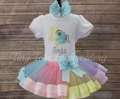 Mi pequeño Pony tutú conjunto  Rainbow Dash cumpleaños equipo