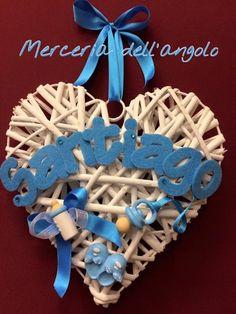 Fiocco nascita cuore Felt Decorations, Baby Born, Luigi, Diy And Crafts, Alice, Baby Shower, Wreaths, Ideas, Party