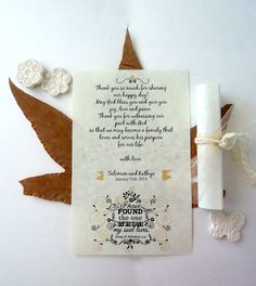 like this on the back of programs... 7 ways to incorporate bible verses in your Christian Wedding | Rustic Folk Weddings