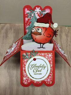 Pop-up-box christmas card with Crazy Bird
