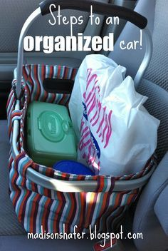 Most of these weren't new ideas to me, but I did love the collapsible picnic basket on the front seat for all the odds and ends that tend to accumulate that need to be taken inside when you get home or need to be returned somewhere. I also like the plastic cereal container used as a trash bin. Those were brilliant.