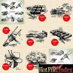 Hand drawn Japanese illustration Vector Set From HotFileIndex