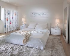 bedroom contemporary bedroom-so soft! Waking up to feel that rug would be a dream...