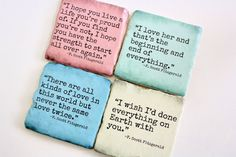 F. Scott Fitzgerald Literary Quote Coasters. by JustChuggingAlong, $20.00