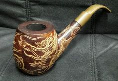 Vintage USED Dragon Carved Pipe -Very Large Size-Decorative Pipe-Engraved Wood