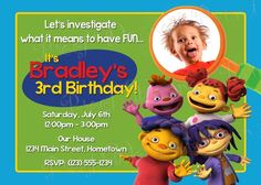 Personalized Sid the Science Kid Birthday Photo Invitations
