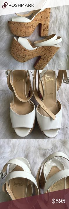 Christian Louboutin White Dombasle 38 Worn 2X. Blue dotted staining on the outside toe box of the left one Christian Louboutin Shoes Platforms