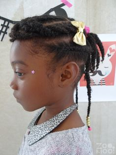 Zomooi: Little girl easy natural hairstyle: braided bangs 2